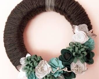 Dream yarn wrapped felt flower wreath