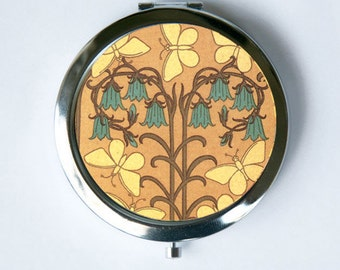 Art Nouveau Bell Flower and Butterflies Floral Compact Mirror Pocket Mirror design Pattern