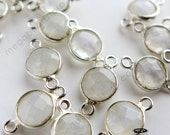 4 pcs 6mm Moonstone Tiny Sterling Silver Bezel Gemstone Connectors F391S