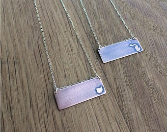 CUSTOM state pendant necklace   brass pendant necklace   copper pendant necklace   your state   personalized necklace