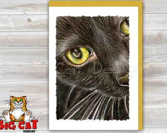 CAT CARD.  Black Cat note card. Black Cat Greeting Card.  Black Cat Lover Gift