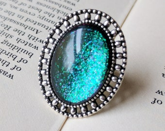 Prism Collection: Mermaid Tears - Color-shifting Iridescent Glitter Adjustable Ring