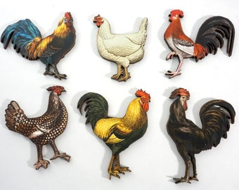 Wood Chickens - A Collection of 6 Laser Cut Roosters and a Hen