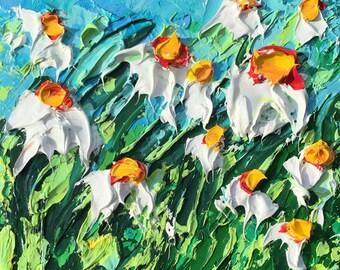 B. Sasik Original Oil Painting  Garden ART DAISY  Painting