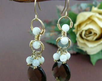 Chocolate Brown Smoky Quartz and Mother of Pearl 12K Gold Filled Dangle Earrings