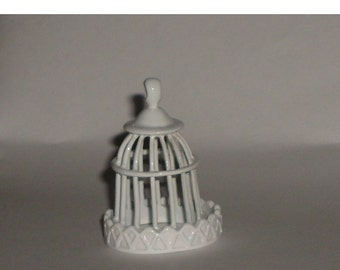 Miniature bird cage for doll house, crafts, Christmas tree decoration or jewelry.  (cottage chic, victorian)