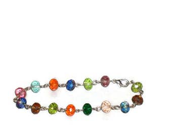 Crystal rainbow bracelet  (colorful for spring and summer wear)