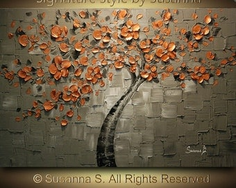 ORIGINAL Copper Orange Gray Impasto Painting Abstract Tree Landscape Thick Textured Palette Knife fine art by Susanna Ready to Hang 36x24