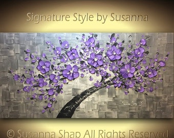 ORIGINAL purple tree painting cherry blossom art large landscape oil painting textured modern palette knife art by susanna 48x24 made2order