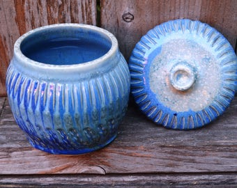 Blue Ceramic Pot for Storage or CUSTOM Scented Soy Wax Candle (20 oz. approx.)