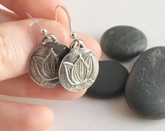 Silver Lotus Earrings Handmade Pure Silver