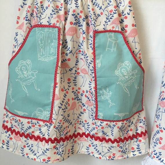 Pink Flamingo Organic Cotton fabric half apron with two pockets