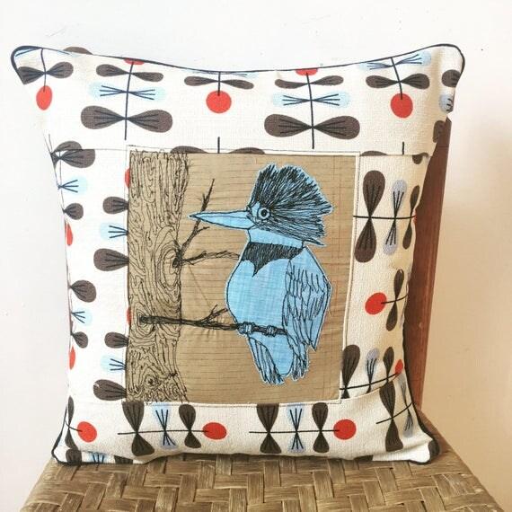 Belted Kingfisher freehand Machine Stitch barkcloth pillow
