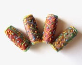 Embroidered Fabric Beads - Set of 4 Fabric Beads - Tube Beads - Embroidery - Jewelry Supplies - Embroidered Beads - Textile Art - Fiber Art