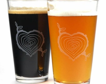 SALE - 2 Tree Stump Etched Pint Glasses - wood slice hearts