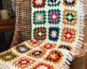 HOLIDAY SALE - Large Crochet Afghan - Throw Blanket with Fringe - Multi Granny Square with Ivory Fringe - Autumn Fall