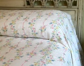 BIG SALE - Vintage Floral Bedspread - Colorful Flowers Garland on White Seersucker - Romantic Plisse Full Size - Queen Coverlet  - Pair Avai