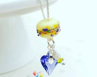 Silver Beaded Necklace, Lampwork Necklace Lemon Crocus, Sterling Silver Necklace, Lampwork Jewellery, Gift for Her, Bridesmaid Gift