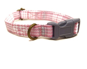 Hipster - Light Pink Gray White Girly Plaid Rustic Country Organic Cotton CAT Collar Breakaway Safety - All Antique Brass Hardware
