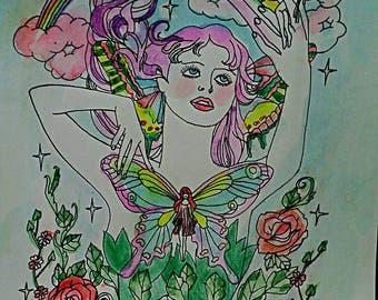 Beltane, fairy, spring, equinox, pagan, princess, handpainted, watercolor, Dame Darcy, illustration