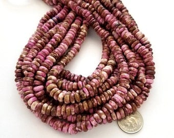 130 Fuchsia Pink & Brown Bone Beads, Rondelle Beads (H2409)