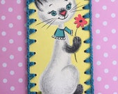 Vintage Greeting Card Book Mark / Ornament -  Sweet Kitty Cat