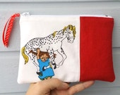 Zippered pouch purse red wool Pippi Longstocking cotton