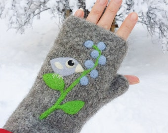 Felted fingerless mittens gray wool hand knit with needle felted blue birdie bird berries size medium large