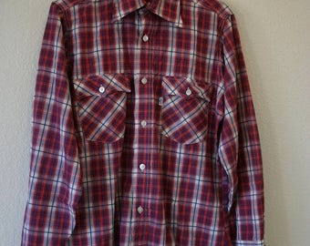 Closing Shop Sale 40% Off Vintage early 70's LEVIS Big E button up Plaid Western long sleeve Shirt
