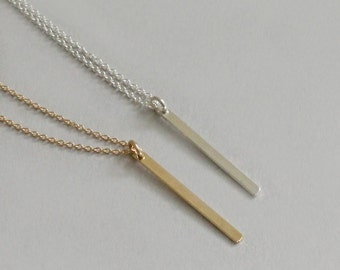 Gold Vertical Bar Necklace Thin Bar Necklace Silver Gold Bar Sterling Silver 14K Gold Fill Modern Necklace Silver Bar Necklace Minimal