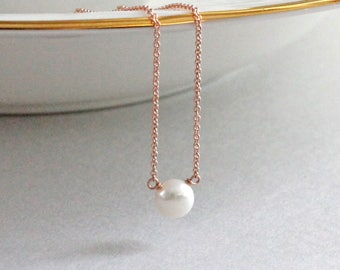 Single Pearl Necklace Rose Gold Necklace 14K Gold Fill Rose Gold Layering Necklace Bridal Necklace Rose Gold Jewelry Modern Minimal