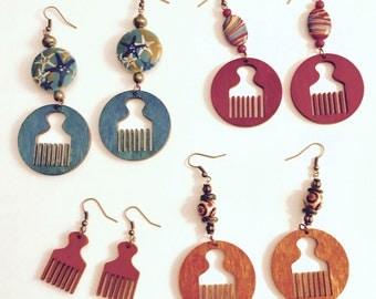 Earrings,jewelry ,dangle,fashion, Afrocentric, wood,women,teens