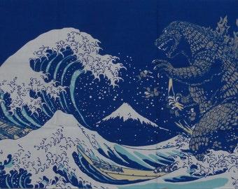 Godzilla Tenugui 'Godzilla & Hokusai's Great Wave on Navy'  Cotton Fabric Hokusai Gojira Japanese Cloth w/Free Insured Shipping