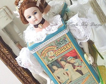The Corset Art Doll Wall Safe Assemblage Doll Sculpture Altered Can One-of-a-Kind Lorelie Kay Original