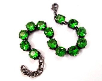 Green Rhinestone Bracelet, Emerald Glass Rhinestone and Gunmetal Silver Beaded Bracelet, FREE Shipping U.S.