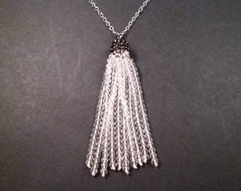 Tassel Necklace, Clear Glass Beaded Tassel and Pave Rhinestone Cap, Silver Chain Necklace, FREE Shipping U.S.