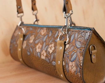 Leather Barrel Bag Purse - Handmade Women's Shoulder Bag in Tooled Western Floral Pattern - One of a kind - Blue, White and antique brown