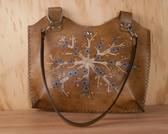 Leather Tote Bag  - Handmade Purse with Flowering Tree in blue, white and antique brown - Winter Pattern - Medium Handbag