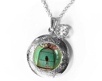 Birdcage locket, bird lockets...lockets, personlized lockets, bird jewelry, birdcages, personalize the interior optional, pastels,silhouette