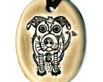 Dog Bot Ceramic Necklace in Mocha Crackle