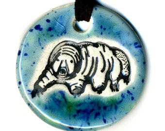 Tardigrade or Water Bear Ceramic Necklace in Blue Green