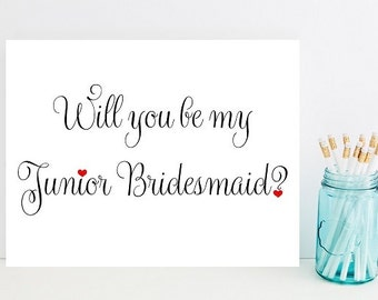 Will you be my junior bridesmaid- Card for wedding - Card for junior bridesmaid - Wedding party - Wedding Cards - bridesmaids - Wedding