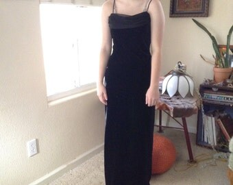 Vintage 90s goth black stretch velvet gown ~ chiffon ~ party dress