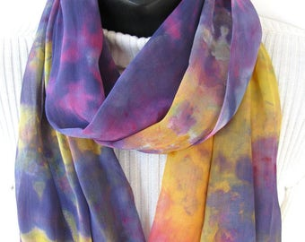 Crocus - Hand Dyed Silk Chiffon Infinity Scarf for Women Spring Fashion Scarf Summer Scarf purple yellow scarf unique handmade gift for her
