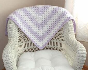 Baby Shower Gift, Handmade, Purple and White, Crocheted Baby Blankets, Newborn, Crochet Baby Blanket, Baby Blankets, Baby Shower Gift