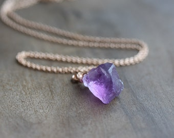 Small raw amethyst necklace - rough amethyst pendant on rose gold chain - February birthstone - raw crystal necklace - raw crystal jewelry