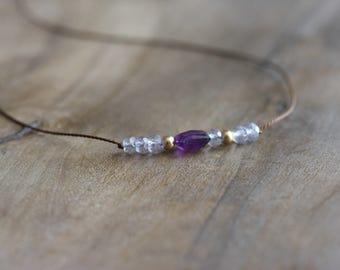 Beaded gemstone choker - silk choker necklace with cornflower blue quartz, amethyst & gold - gold jewelry - beaded gemstone jewelry