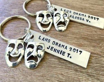 Personalized Drama Keychain, Theater Keychain, Acting Keychain, Actor Keychain, Senior Drama Gifts, Acting Teacher gift, Drama Teacher Gift