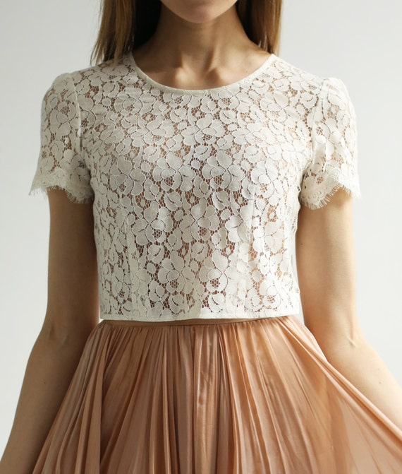 Sample Sale -short sleeve Lace wedding top separate--