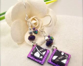 Violet purple earrings, Dichroic glass earrings, Fused dichroic, Glass fusion, Hana Sakura, Artisan earrings, unique jewelry, trending now